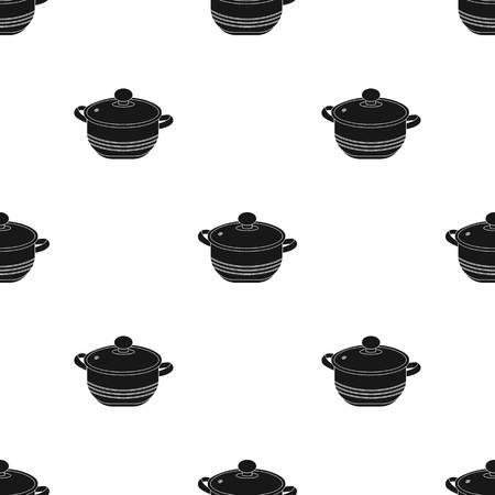 stockpot: Stockpot icon in black style isolated on white background. Kitchen pattern stock vector illustration.