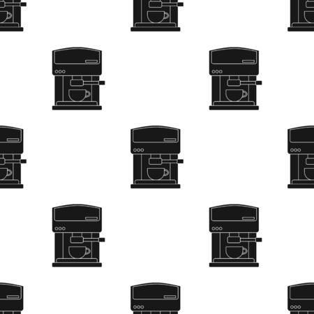 Coffeemaker icon in black style isolated on white background. Kitchen pattern stock vector illustration.