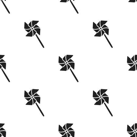 Juguete molino de viento icono negro. Ilustración para diseño web y móvil.