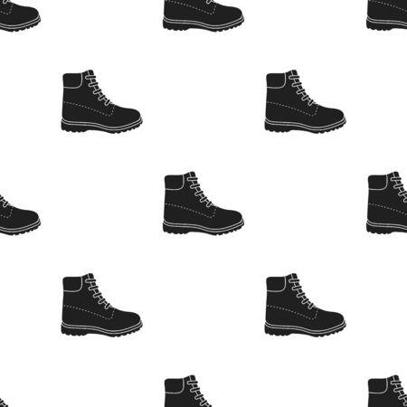 Icono de botas de senderismo en estilo negro aislado sobre fondo blanco. Zapatos patrón stock ilustración vectorial.
