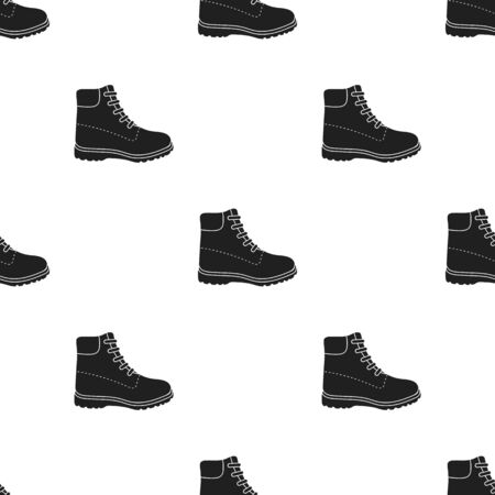 Hiking boots icon in  black style isolated on white background. Shoes pattern stock vector illustration. Vectores