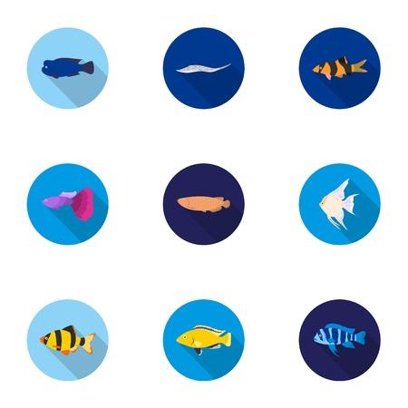Aquarium fish set icons in flat style. Big collection of aquarium fish vector symbol stock illustration