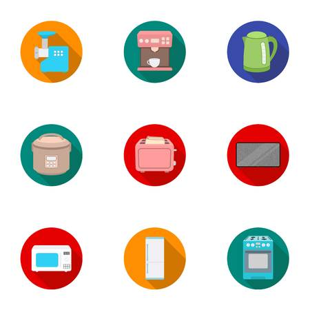 meat grinder: Household appliances set icons in flat style. Big collection of household appliances vector symbol stock illustration