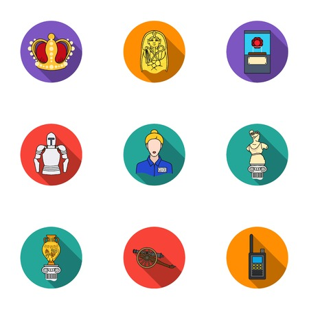 pharaoh: Museum set icons in flat style. Big collection of museum vector symbol stock illustration
