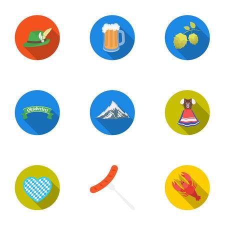 Oktoberfest set icons in flat style. Big collection of Oktoberfest vector symbol stock illustration Illustration