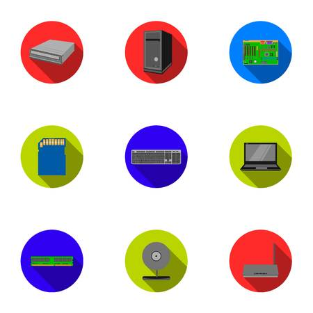 Personal computer set icons in flat style. Big collection of personal computer vector symbol stock illustration Illustration