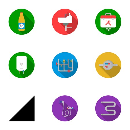 Plumbing set icons in flat style. Big collection of plumbing vector symbol stock illustration Illustration