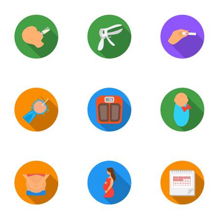 Pregnancy set icons in flat style. Big collection of pregnancy vector symbol stock illustration
