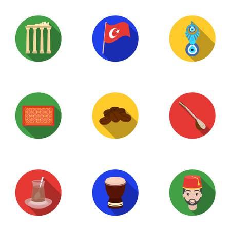 Turkey set icons in flat style. Big collection of Turkey vector symbol stock illustration Illustration