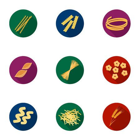 Types of pasta set icons in flat style. Big collection of types of pasta vector symbol stock illustration Illustration