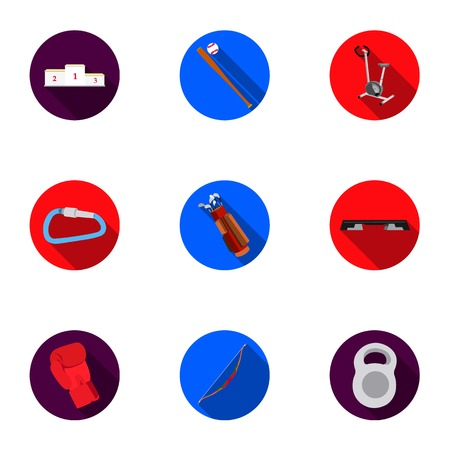 Sport and fitness set icons in flat style. Big collection of sport and fitness vector symbol stock illustration