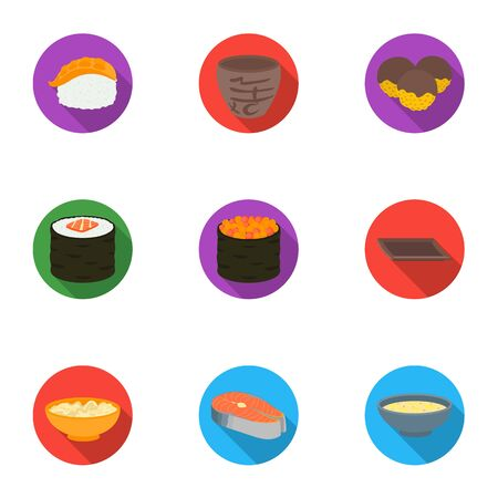 tetsubin: Sushi set icons in flat style. Big collection of sushi vector symbol stock illustration