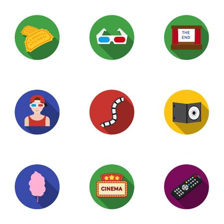 anaglyph: Films and cinema set icons in flat style. Big collection of films and cinema vector symbol stock illustration Illustration