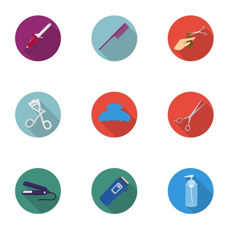 curler: Hairdresser set icons in flat style. Big collection of hairdresser vector symbol stock illustration