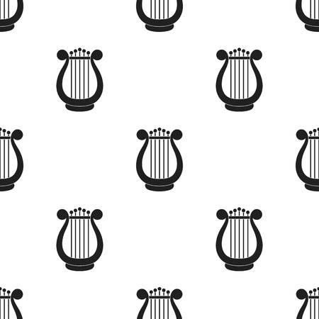 Harp pictogram in zwarte stijl geïsoleerd op een witte achtergrond. Theater patroon stock vector illustratie Stock Illustratie