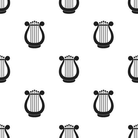 Harp icon in  black style isolated on white background. Theater pattern stock vector illustration