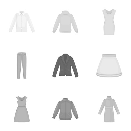 Clothes set icons in monochrome style. Big collection of clothes vector symbol stock illustration
