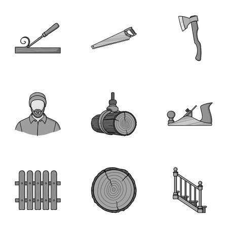 Sawmil and timber set icons in monochrome style. Big collection of sawmill and timber vector symbol stock illustration Illustration