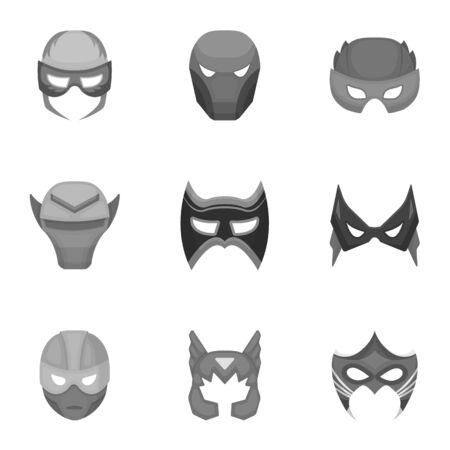 Superhero mask set icons in monochrome style. Big collection of superhero mask vector symbol stock illustration