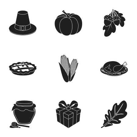 canadian flag: Canadian Thanksgiving Day set icons in black style. Big collection of canadian Thanksgiving Day vector symbol stock illustration Illustration