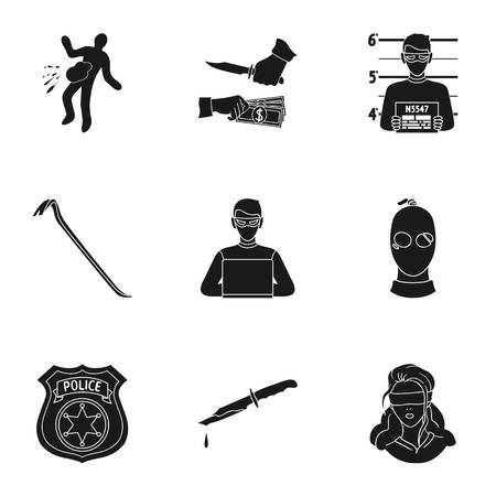 crowbar: Crime set icons in black style. Big collection of crime vector symbol stock illustration