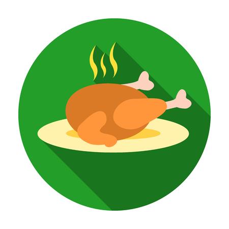 Christmas roasted turkey icon in flat style isolated on white background. Christmas Day symbol stock vector illustration.