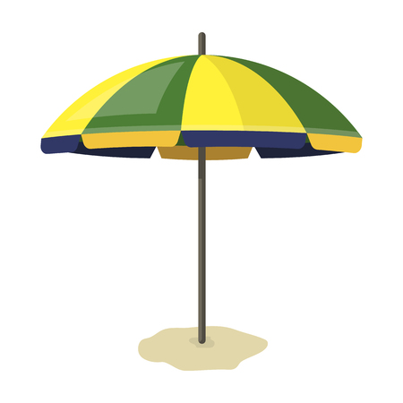 Yelow-green beach umbrella icon in cartoon style isolated on white background. Brazil country symbol stock vector illustration.