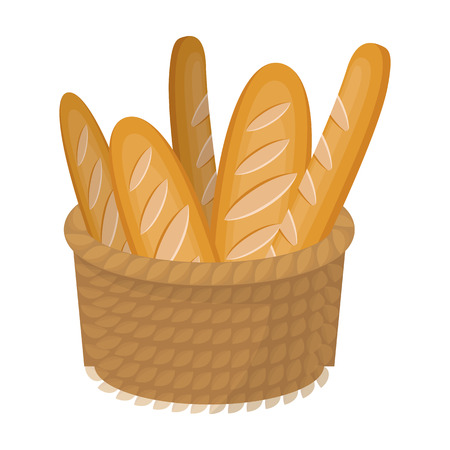 Basket of baguette icon in cartoon style isolated on white background. France country symbol stock vector illustration.