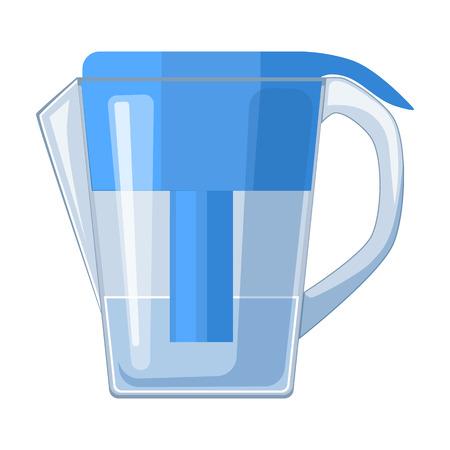 Pot de l'eau avec l'icône de la cartouche de filtre dans le style de dessin animé isolé sur fond blanc. Système de filtration d'eau symbole illustration vectorielle. Vecteurs