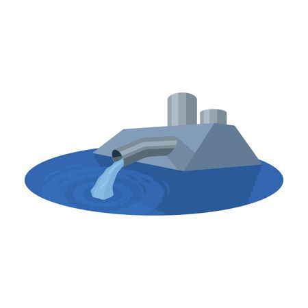 water: Water treatment plant icon in cartoon style isolated on white background. Water filtration system symbol stock vector illustration.