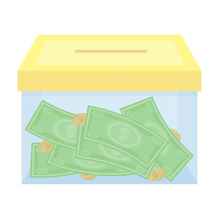 Donation moneybox icon in cartoon style isolated on white background. Charity and donation symbol stock vector illustration.