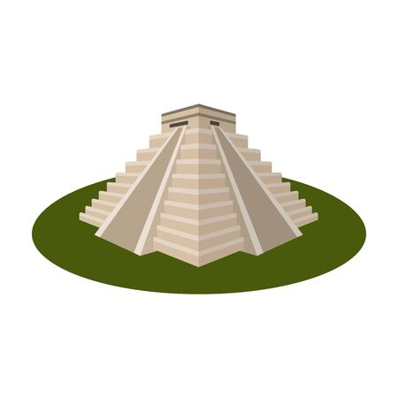 itza: Chichen Itza icon in cartoon style isolated on white background. Countries symbol stock vector illustration.