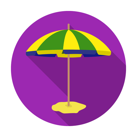 Yelow-green beach umbrella icon in flat style isolated on white background. Brazil country symbol stock vector illustration.