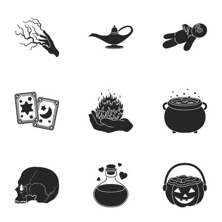 black and white: Black and white magic set icons in black style. Big collection of black and white magic vector symbol stock illustration