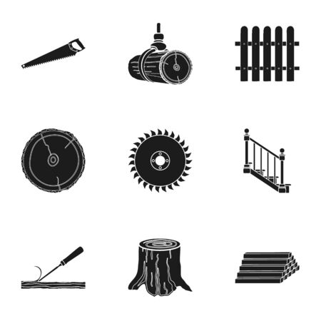 Sawmil and timber set icons in black style. Big collection of sawmill and timber vector symbol stock illustration Zdjęcie Seryjne - 69672660