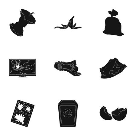 opened bag: Trash and garbage set icons in black style. Big collection of trash and garbage vector symbol stock illustration