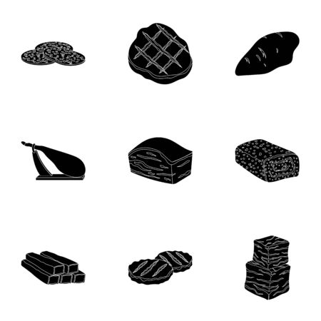 meatloaf: Meats set icons in black style. Big collection of meats vector symbol stock illustration Stock Photo