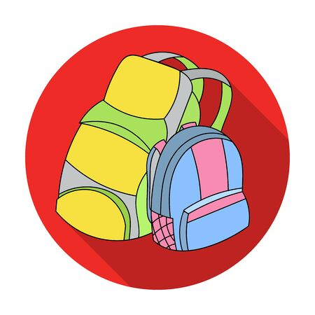 Pair of travel backpacks icon in flat style isolated on white background. Family holiday symbol stock vector illustration. Иллюстрация
