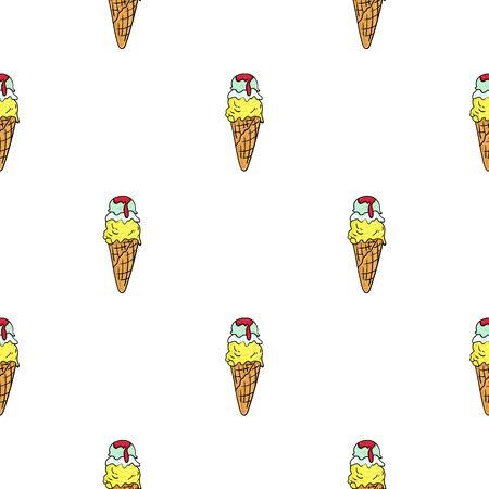 gelato: Italian gelato icon in cartoon style isolated on white background. Italy country pattern stock vector illustration. Illustration