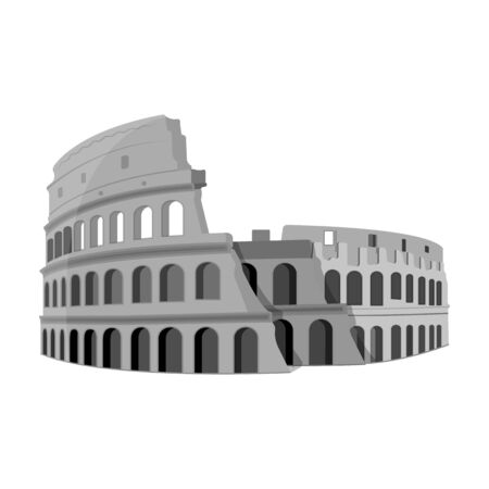 flavian: Colosseum in Italy icon in monochrome style isolated on white background. Countries symbol stock vector illustration.