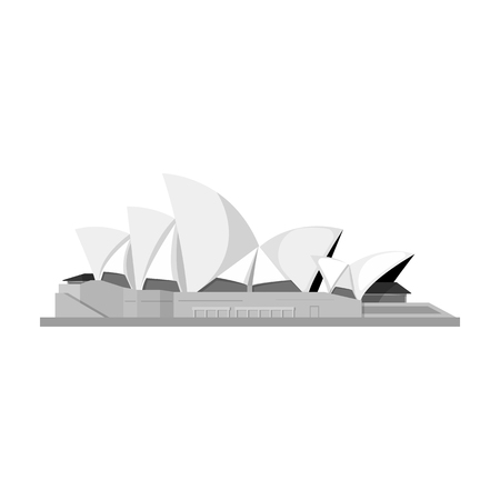 Sydney Opera House icon in monochrome style isolated on white background. Countries symbol stock vector illustration.