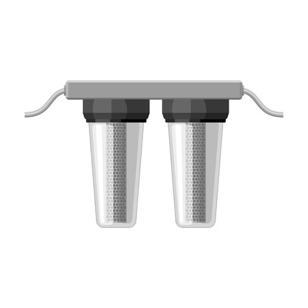 filtración: Water filters icon in monochrome style isolated on white background. Water filtration system symbol stock vector illustration. Vectores