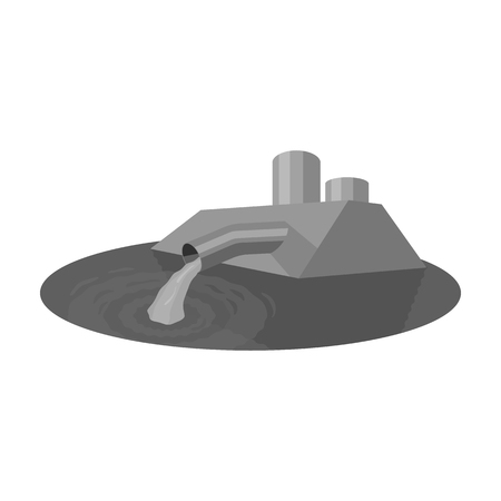 sewage treatment plant: Water treatment plant icon in monochrome style isolated on white background. Water filtration system symbol stock vector illustration.