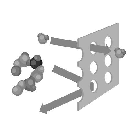 filtración: icono de filtración de agua en estilo blanco y negro sobre fondo blanco. Filtración ilustración símbolo de sistema de la serie de vectores.