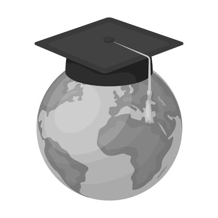 interpreter: Multilingual planet icon in monochrome style isolated on white background. Interpreter and translator symbol stock vector illustration. Illustration