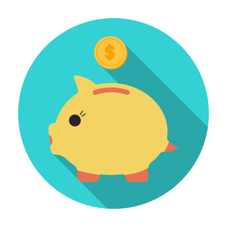 Donation piggybank icon in flat style isolated on white background. Charity and donation symbol stock vector illustration. Illustration