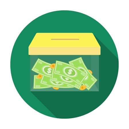 Donation moneybox icon in flat style isolated on white background. Charity and donation symbol stock vector illustration.