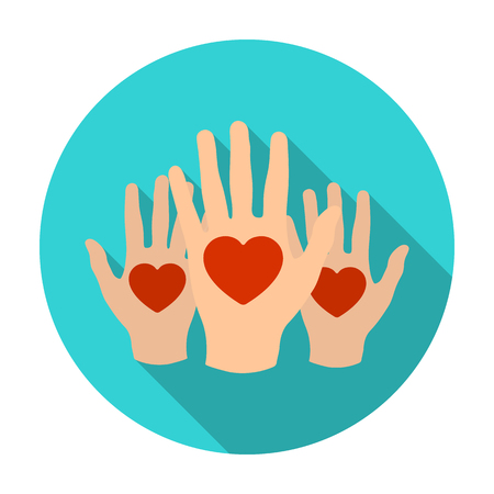 Hands up with hearts icon in flat style isolated on white background. Charity and donation symbol stock vector illustration.