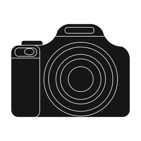 jorney: Digital camera icon in black style isolated on white background. Rest and travel symbol stock vector illustration. Illustration