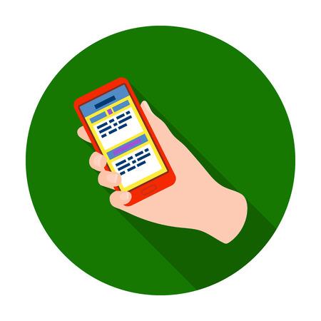 Mobile translator icon in flat style isolated on white background. Interpreter and translator symbol stock vector illustration.